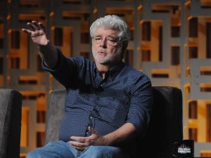 George Lucas attends the 40 Years of Star Wars panel during the 2017 Star Wars Celebration at Orange County Convention Center in Orlando, Florida.