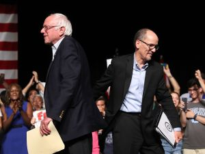 Sen. Bernie Sanders (I-VT) and DNC Chair Tom Perez.