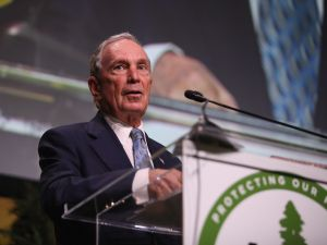Former New York City Mayor Michael Bloomberg speaks at the Sierra Club.