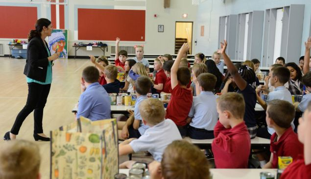 FAIRLAWN, OH - MAY 24: Shelly Hinton, Vice President of Akron-Canton Regional Food Bank, speaks to students at Saint Hillary School about the Hungry To Help Lesson Plan on May 24, 2017 in Fairlawn, Ohio.
