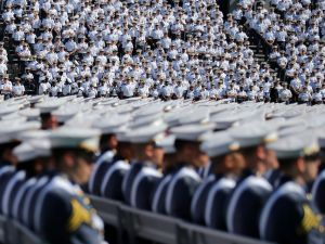 Cadets wait for the start of the U.S. Military Academy Class of 2017 graduation ceremony at Michie Stadium on May 27, 2017 in West Point, New York.