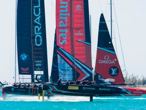 Emirates Team New Zealand and Oracle Team USA race during the 35th America's Cup.