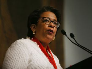 NEW YORK, NY - JUNE 20: Former Attorney General Loretta Lynch speaks at the New York Historical Society on June 20, 2017 in New York City. Lynch, who served under President Obama, received the Women in Public Life Award at the society's annual luncheon for the Strawberry festival.