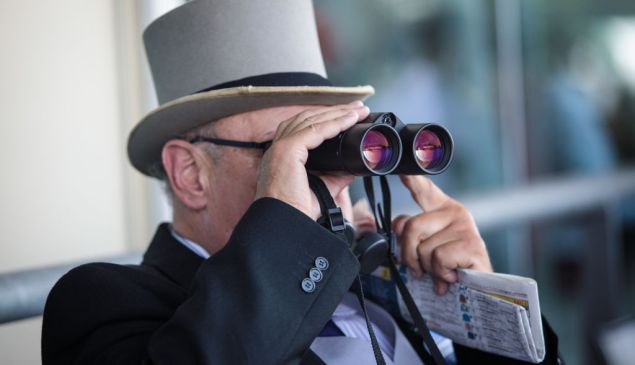 ASCOT, ENGLAND - JUNE 21: A racegoer looks through binoculars during a race at Royal Ascot 2017 at Ascot Racecourse on June 21, 2017 in Ascot, England. The five-day Royal Ascot meeting is one of the highlights of the horse racing calendar and has been held at the famous Berkshire course since 1711. (Photo by Jack Taylor/Getty Images)