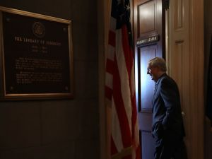 Senate Majority Leader Mitch McConnell (R-KY) arrives in his office in the U.S. Capitol June 22, 2017 in Washington, DC.