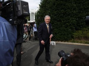 Senate Majority Leader Sen. Mitch McConnell leaves after he spoke to members of the media outside the West Wing of the White House June 27, 2017 in Washington, DC.