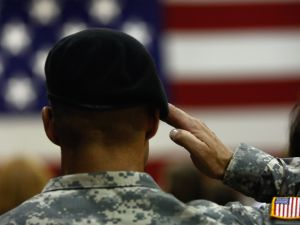 A U.S. Army soldier salutes.