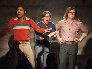 RJ Cyler as Adam, Michael Angarano as Eddie and Clark Duke as Ron in I'm Dying Up Here.