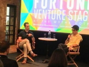 Andrew Nusca of Fortune (left) interviews Kickstarter CEO Yancey Strickler at the Northside Festival in Williamsburg.