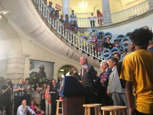 Mayor Bill de Blasio held a mayoral control rally at City Hall.