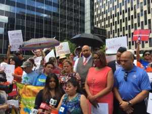 The family of Martin Martinez, an undocumented immigrant from Mexico, rallies in front of 26 Federal Plaza with elected officials and advocates.