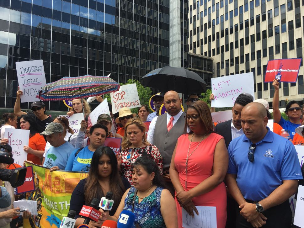 Pols and Advocates Rally Outside ICE's NYC Office Against Arrest of Mexican Immigrant