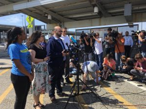 The New York Immigration Coalition and Make the Road New York held a press conference at John F. Kennedy International Airport.