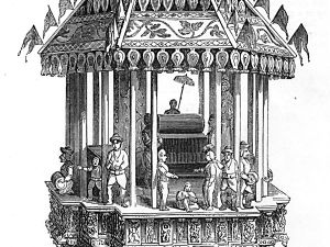 The Car of Juggernaut, as depicted in the 1851 Illustrated London Reading Book.