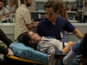 Brendan Fehr as Drew Alister, Madalyn Horcher as Abby Carpenter, Scott Wolf as Scott Clemmens, Alma Sisneros as Nurse Jocelyn in The Night Shift.