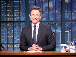 Pictured: Host Seth Meyers at his desk on May 1, 2017.