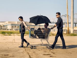 Ruth Negga as Tulip O'Hare, Joseph Gilgun as Cassidy, Dominic Cooper as Jesse Custer in Preacher.