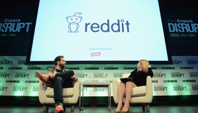 Co-Founder of Reddit Alexis Ohanian (L) onstage in New York City.