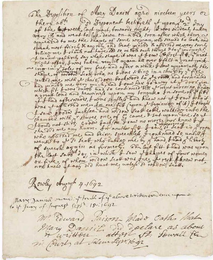 Christie's Sells Rare Deposition From Salem Witch Trials for $137K