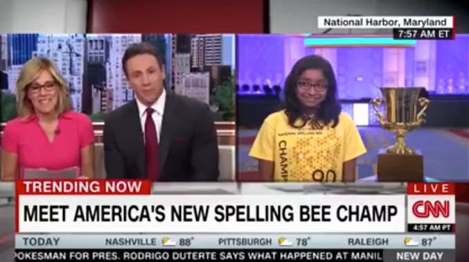 CNN Anchors Racially Harass 12-Year-Old National Spelling Bee Champ On-Air