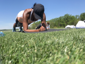 Michelle Obama demonstrates her bootcamp workout.