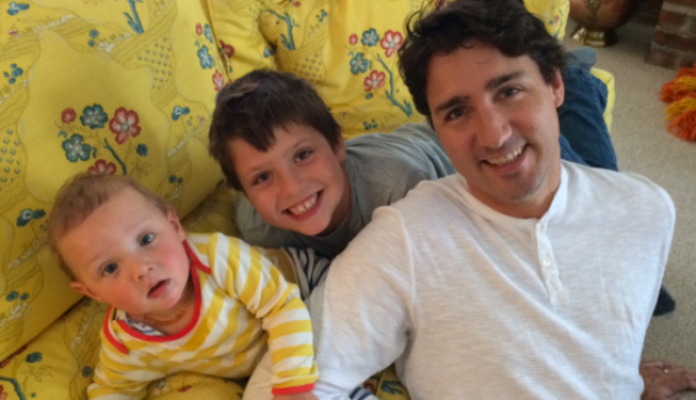 Justin Trudeau with his own kids, celebrating Father's Day.