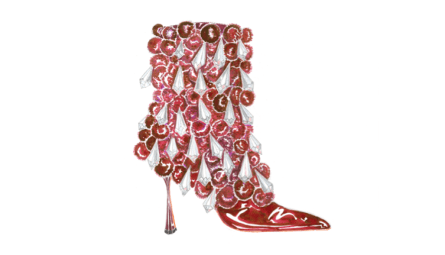 How Blahnik visualized this over-the-top boot.