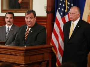 From left: Vincent Prieto, Chris Christie and Steve Sweeney.
