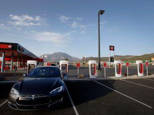 A Tesla Supercharging Station in Nephi, Utah