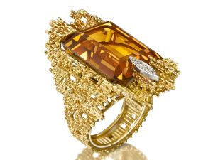 An 18 carat gold, citrine and diamond ring by Andrew Grima, 1971, pre-sale estimate $5,200-$7,800.