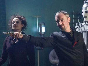 Michelle Gomez and John Simm in Doctor Who.