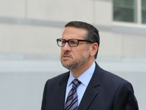 David Wildstein leaves the Newark federal court house after his sentencing.