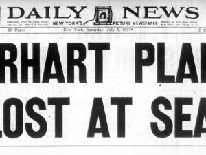 New York Daily News Front Page Headline following Amelia Earhart's Disappearance
