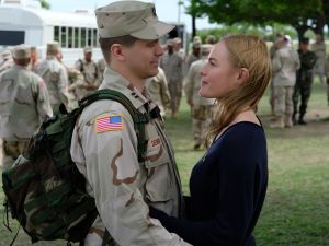 Jason Ritter as Capt. Troy Denomy with Kate Bosworth as Gina Denomy on The Long Road Home