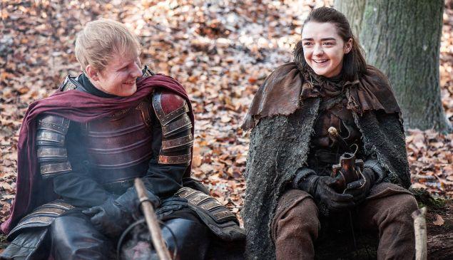 Episode 61 (season 7, episode 1), debut 7/16/17: Ed Sheeran, Maisie Williams. photo: Helen Sloan/courtesy of HBO