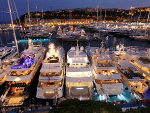 Yachts moored at Port Hercules during the International Monaco Yacht Show. A selection of 100 super and mega-yachts from 25 to over 90 m long.