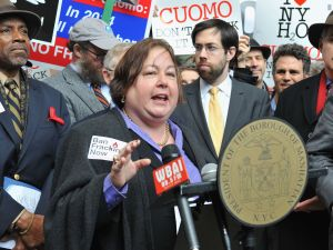 New York State Senator Liz Krueger attends a panel on Hydraulic Fracturing in New York City.