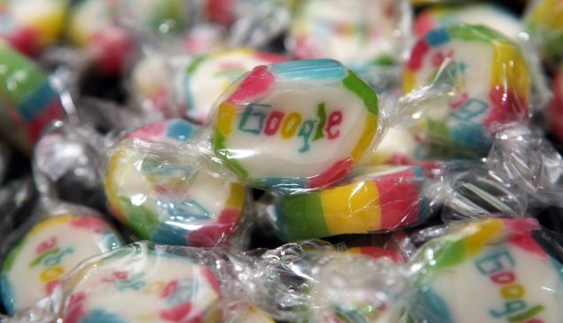 Pieces of candy featuring the Google logo are seen on September 26, 2012 at the official opening party of the Google offices in Berlin, Germany.