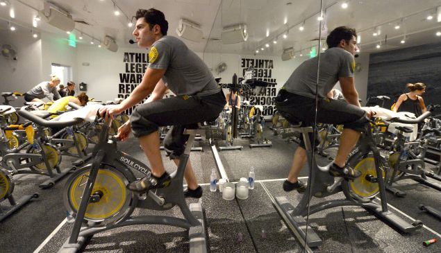Max Greenfield instructs Glamour Magazine's SoulCycle ride to benefit Milk + Bookies at SoulCycle on January 30, 2013 in West Hollywood, California. (Photo by