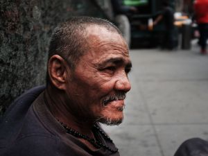 A homeless man on Eighth Avenue in New York City.
