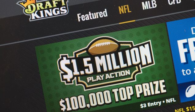 The fantasy sports website DraftKings is shown on October 16, 2015 in Chicago, Illinois. DraftKings and its rival FanDuel have been under scrutiny after accusations surfaced of employees participating in the contests with insider information.
