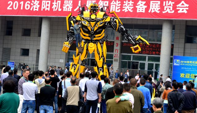 """A """"Bumblebee"""" transformer outside a robot exhibition in China."""