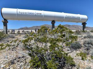 Hyperloop tubes on display at the 'Devloop' test sight in North Las Vegas, Nevada