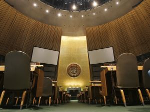 The General Assembly Hall of the United Nations at the United Nations headquarters in New York.