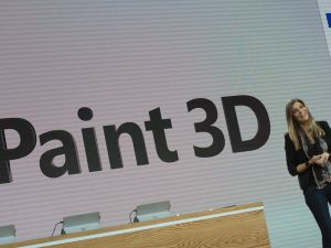 Microsoft executive Megan Saunders introduces Paint 3D at a Microsoft news conference October 26, 2016 in New York.