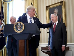 President Donald Trump and Attorney General Jeff Sessions at the White House.