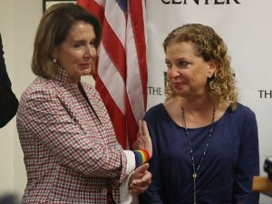 WILTON MANORS, FL - MAY 26: House Minority Leader Rep. Nancy Pelosi (D-CA) and Rep. Debbie Wasserman Schultz (D-FL) attend a discussion about LGBT rights at the Pride Center on May 26, 2017 in Wilton Manors, Florida. The discussion centered around the Equality Act, a bill that hopes to amend the Civil Rights Act of 1964 to guarantee protections to LGBT individuals.