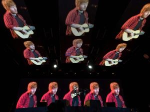 TOPSHOT - Ed Sheeran performs on the Pyramid Stage at the Glastonbury Festival of Music and Performing Arts on Worthy Farm near the village of Pilton in Somerset, south-west England, on June 25,