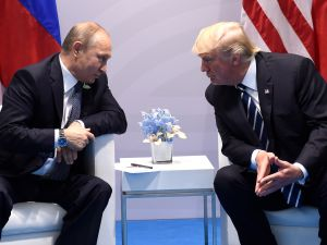 President Donald Trump and Russian President Vladimir Putin hold a meeting on the sidelines of the G20 Summit in Hamburg, Germany on July 7, 2017.