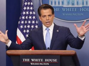 Anthony Scaramucci answers reporters' questions during the daily White House press briefing on July 21, 2017.